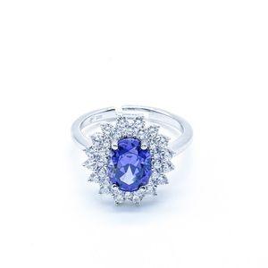 Women's Sapphire Sparkle Halo Ring Sterlin…